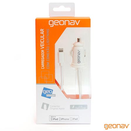 Carregador Veicular para iPhone iPad iPod Lightning conector Geonav - CHLIGHVW, Branco, 12 meses