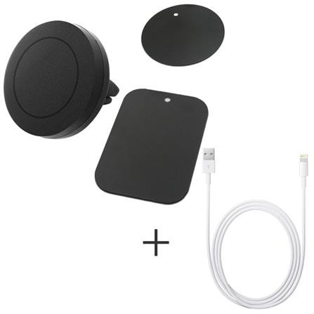 Suporte Veicular Geonav Universal Preto para Smartphones + Cabo Lightning USB Apple com 1 metro para iPod, iPhone e iPad, 0