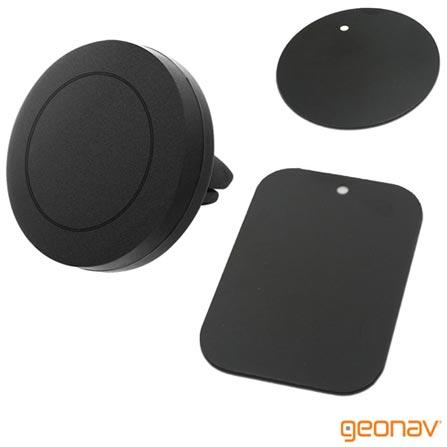 Suporte Veicular Geonav Universal Preto para Smartphones, com Fechamento Magnético + Cabo para Entrada Micro USB Branco, 0