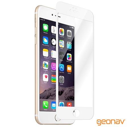 Película Protetora Geonav para iPhone 6/6s com Borda Branca de Vidro Transparente - GLTIP6BR, Não se aplica