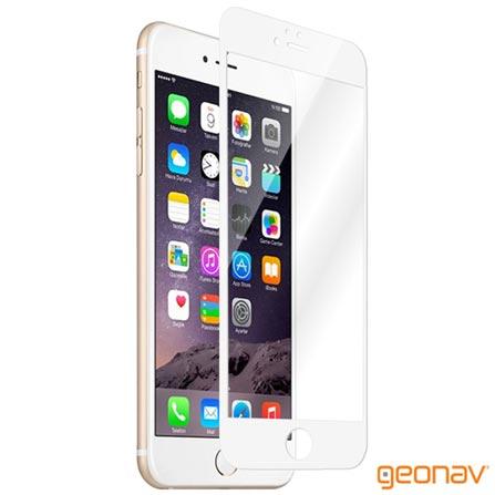 Pelicula Protetora Geonav para iPhone 6/6s Plus com Borda Branca de Vidro Transparente - GLTIP6PBR, Não se aplica