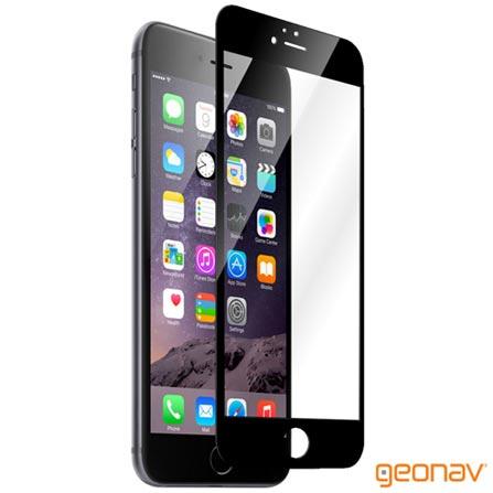 Película Protetora Geonav para iPhone 6/6s Plus com Borda Preta de Vidro Transparente - GLTIP6PPR, Não se aplica