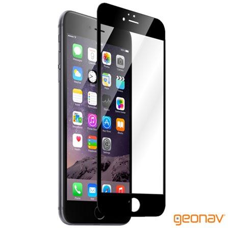 Película Protetora Geonav para iPhone 6/6s com Borda Preta de Vidro Transparente - GLTIP6PR, Não se aplica