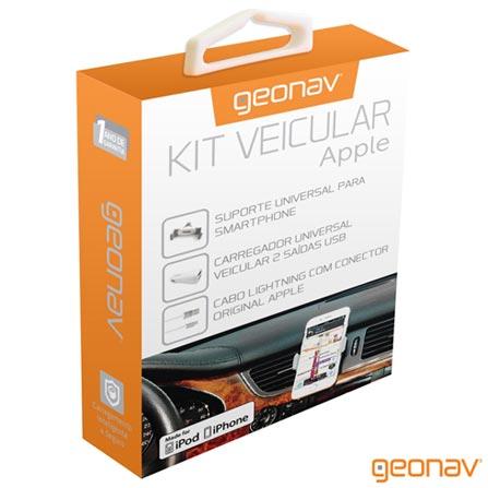 Kit Veicular para Apple com duas portas USB e Cabo Lightning Branco - Geonav, Branco, Carregadores, 12 meses