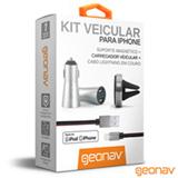 Kit Veicular para Apple com Cabo Lightning, Suporte Magnético e Carregador Veicular Prata e Cinza – Geonav - PLI31