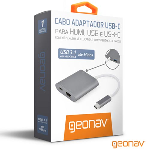 Cabo Adaptador com saídas HDMI, USB 3.1 e USB-C Cinza Geonav - UCA04, Cinza, Cabos e Adaptadores, 12 meses