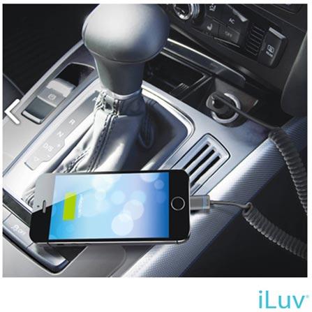 Micro Carregador Veicular Iluv com Cabo Lightning Acoplado para iPod, iPhone e iPad, Preto - IAD1530, Bivolt, Bivolt, 06 meses