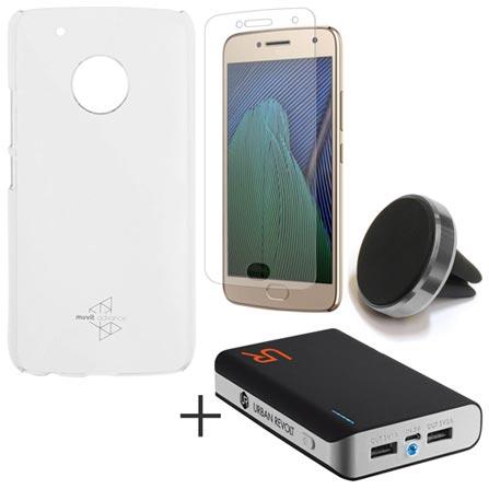 Capa para Moto G5 Plus Transparente  + Pelicula + Carregador 8800 mAh + Suporte Veicular, 1