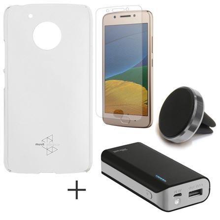 Capa para Moto G5 Transparente + Pelicula de Vidro + Carregador 4400 mAh + Suporte Veicular Universal SUPMAG2, 1