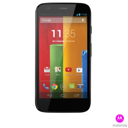 Smartphone Moto G Colors Dual Preto com 16GB + Capa Flip Shells Vivid Red + Capa Grip Shells Paper White, 0, Android acima de 4''