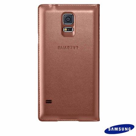 Capa S View para Samsung Galaxy S5 em Couro Rose Gold - Samsung - EF-CG900BFEGBR, Rosa, Capas e Protetores, Couro, 03 meses