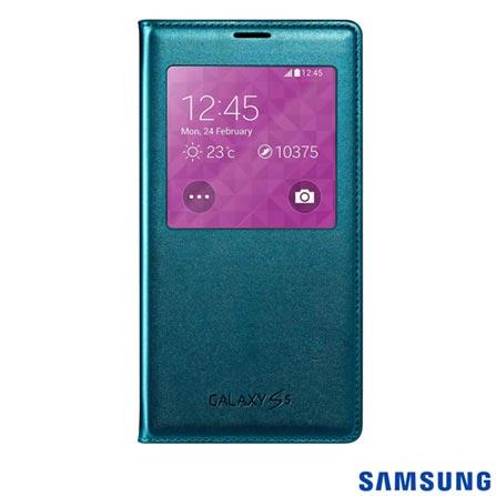 Capa S View para Samsung Galaxy S5 Blue Topaz Samsung - EF - CG900BGEGBR, Azul, Capas e Protetores, Não especificado, 03 meses