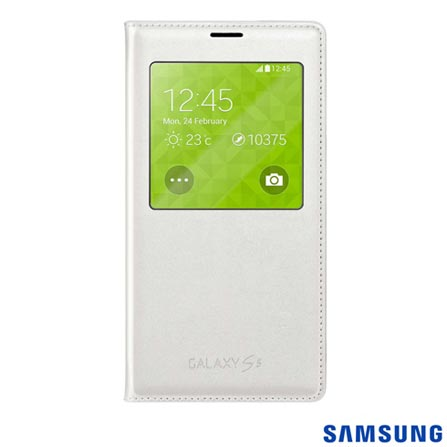 Capa S View para Galaxy S5 Methalic Branca - Samsung - EF-CG900BWEGBR, Branco, Capas e Protetores, Não especificado, 03 meses
