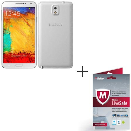 Tablet Samsung Galaxy Note 3 Branco com Android 4.3, Memória de 32 GB, 4G e Wi-Fi + Software de Segurança McAfee® LiveSafe, 0, Wi-Fi + 4G