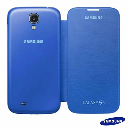 Samsung Galaxy S4 Preto com 4G+Capa Flip Cover Samsung para Galaxy S4 Azul Claro, 0