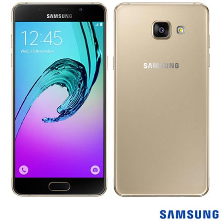 """Galaxy A5 Duos Dourado, 5.2"""", 4G, 16GB e 13 MP - SM-A510M + Carregador Portátil Universal com 4.200 mAh Titanium, 0, Android acima de 4''"""