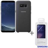 Galaxy S8 Preto, 5,8, 4G, 64 GB, 12 MP - SM-G950 + Capa Cover Prata - EFPG950TS + Pelicula Protetora - ET-FG950CTEGBR