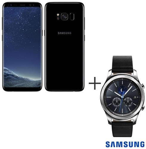Samsung Galaxy S8 Preto, Tela de 5,8, 4G, 64GB e 12MP - SM-G950 + Gear S3 Classic Preto com 1,3, Pulseira de Couro, 0, Android acima de 4''