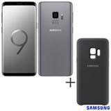 Samsung Galaxy S9 Cinza, 5,8, 4G, 128 GB e Camera de 12 MP + Capa p/ Galaxy S9 Silicone Cover Preta Samsung