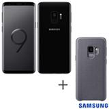 Samsung Galaxy S9 Preto, 5,8, 4G, 128 GB e Camera de 12 MP + Capa para Galaxy S9 Hyperknit Cover Cinza - Samsung