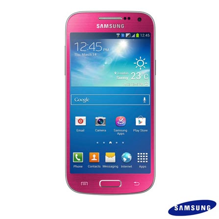 Samsung Galaxy S4 Mini Duos Rosa com Display Super Amoled HD 4.3