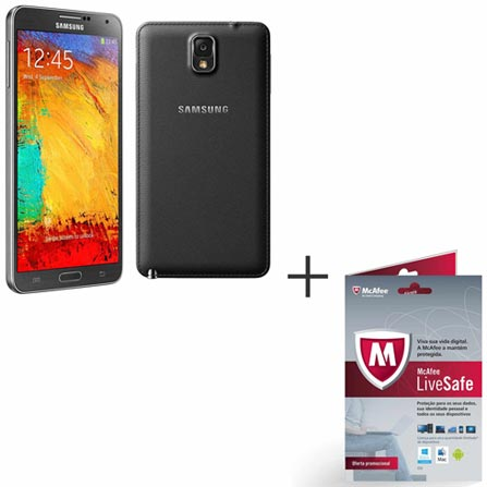 Samsung Galaxy Note 3 Preto com Memória de 32GB Caneta S Pen, 4G e Wi-Fi + Software de Segurança McAfee LiveSafe, 0