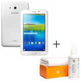 Tablet Samsung Galaxy Tab E Branco com 7, Wi-Fi, Android 4.4 e 8 GB + Limpador para Telas para LCD - Geonav - SS01