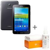 Tablet Samsung Galaxy Tab E Preto com 7, Wi-Fi, Android 4.4 e 8 GB + Limpador para Telas para LCD - Geonav - SS01