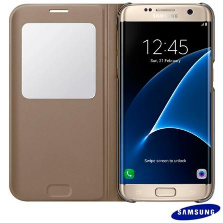 Capa para Galaxy S7 Edge Samsung S View Dourada - EF-CG935PFEGBR, Dourado, Capas e Protetores, Policarbonato, 03 meses