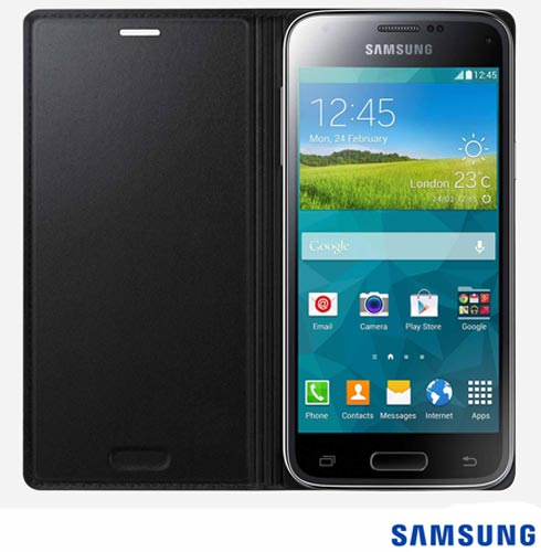 Capa Flip Cover para Galaxy s5 Mini Preta - Samsung - EF-FG800BBEGBR, Capas e Protetores, Poliuretano