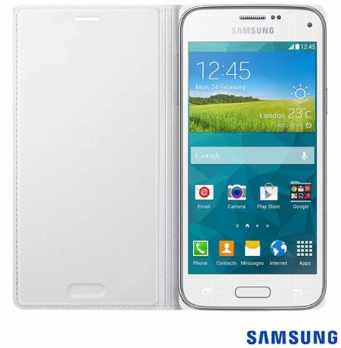 Capa Flip Cover para Galaxy s5 Mini Branco - Samsung - EF-FG800BWEG, Branco, Capas e Protetores, Poliuretano, 03 meses