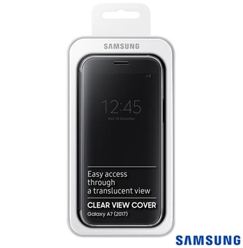 Capa para Galaxy A7 Clear View Cover Preta - Samsung - EF-ZA720CBEGBR, Preto, Capas e Protetores, Policarbonato, 03 meses