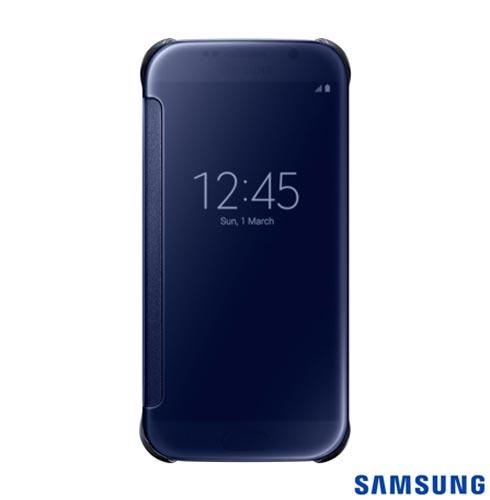 Capa Clear View para Galaxy S6 Preta - Samsung - EFZG920BB, Capas e Protetores, Poliuretano, 03 meses
