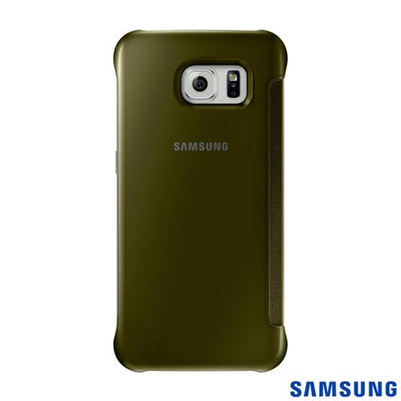 Capa Clear View para Galaxy S6 Dourada - Samsung - EFZG920BF, Dourado, Capas e Protetores, Poliuretano, 03 meses