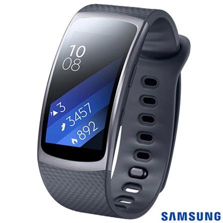 """Gear Fit 2 Samsung Preto com 1,5"""", Pulseira em Elastômero, Bluetooth e 4GB, Preto, Não especificado, 12 meses"""