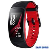 """Gear Fit 2 Pro Samsung Preto e Vermelho com 1,5"""", Pulseira em Silicone, Bluetooth e 4GB"""