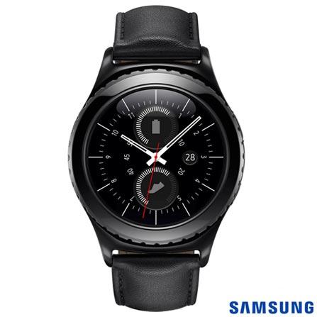 Gear S2 Classic Samsung Preto com 1,2'', Pulseira de Couro, Wi-Fi e 4 GB, Preto, Não especificado, 12 meses