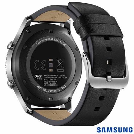 """Gear S3 Classic Samsung Preto com 1,3"""", Pulseira de Couro, Bluetooth e 4 GB, Preto, SmartWatch, Não especificado, 12 meses"""