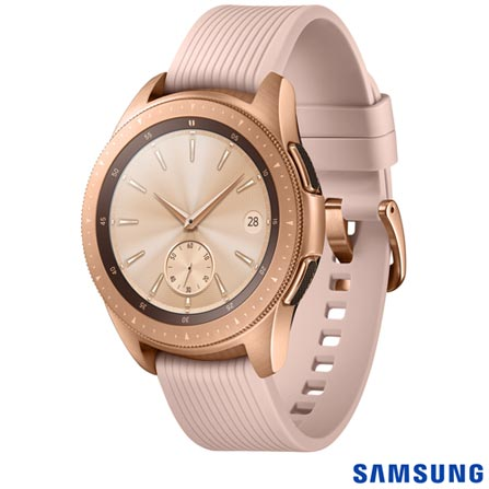 "Galaxy Watch BT 42mm Samsung Dourado com 1,2"", Pulseira de Silicone, Bluetooth 4.2 e 4 GB"
