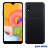 Samsung Galaxy A01 Preto, com Tela de 5,7', 4G, 32GB e Câmera Dupla de 13MP + 2MP - SM-A015MZKEZTO