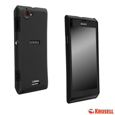 Smartphone Sony Xperia L Branco com Android 4.1, 3G, Wi-Fi - Desbloqueado Vivo + Capa Protetora Krusell para Xperia-L Preta, 0, Android acima de 4''