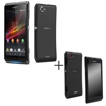 Smartphone Sony Xperia L Preto com Android 4.1 + Capa Protetora Krusell Preta - KS898231, 0, Android acima de 4''