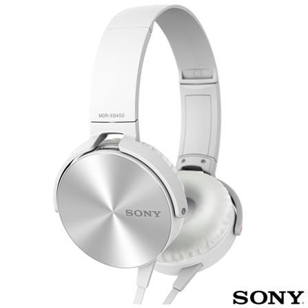 Fone de Ouvido Sony Headphone Branco - MDR-XB450AP/W, Branco, Headphone, 03 meses