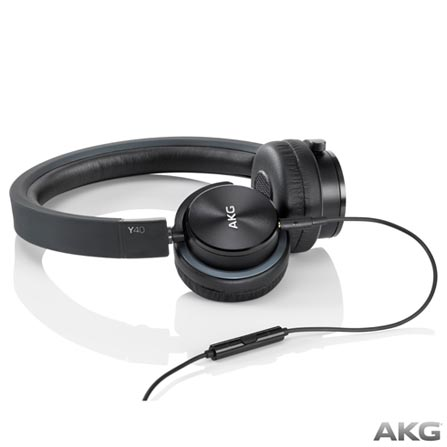 Fone de Ouvido AKG On Ear Stereo Preto - Y40BLK, Preto, Headphone, 12 meses