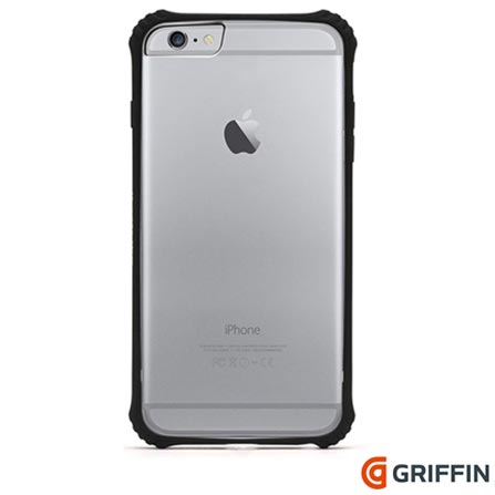 Capa para iPhone 6s Plus Survivor Clear de Plástico Preta Griffin - GB40551, Preto, Capas e Protetores, 06 meses