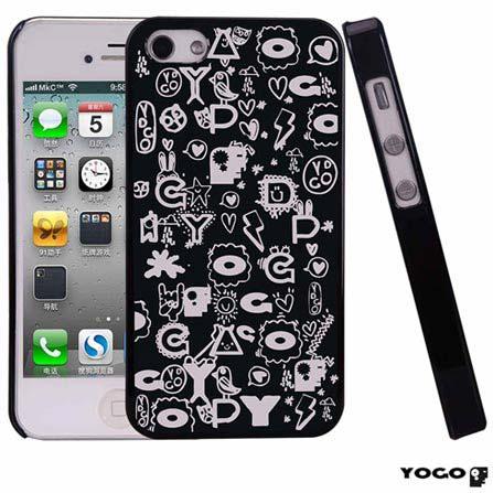 Capa Protetora Yogo com desenhos para iPhone 4S Preta, 06 meses
