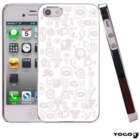 Capa Protetora Yogo com desenhos para iPhone 4S Cinza, Cinza, 06 meses