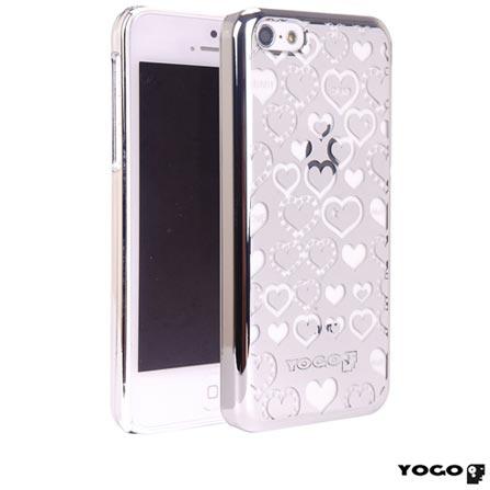 Capa Protetora Yogo com Desenhos de coração para iPhone 5C Prata, Prata, 06 meses