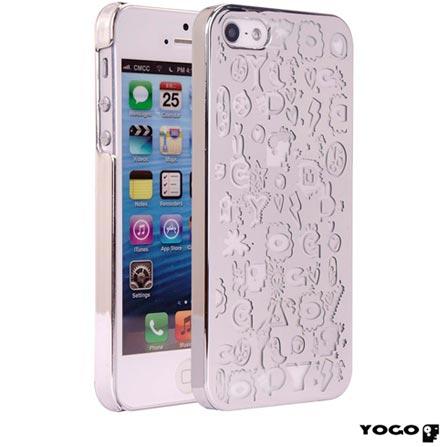Capa Protetora Yogo com Desenhos para iPhone 5S Prata, Prata, 06 meses