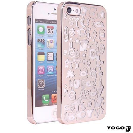 Capa Protetora Yogo com Desenhos para iPhone 5S Dourado, Dourado, 06 meses
